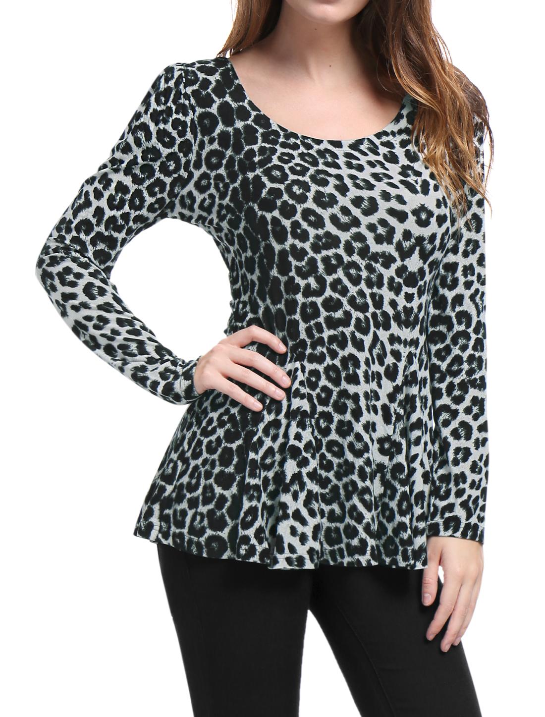 Allegra K Women Long Sleeves Scoop Neck Leopard Prints Peplum Top Gray XS