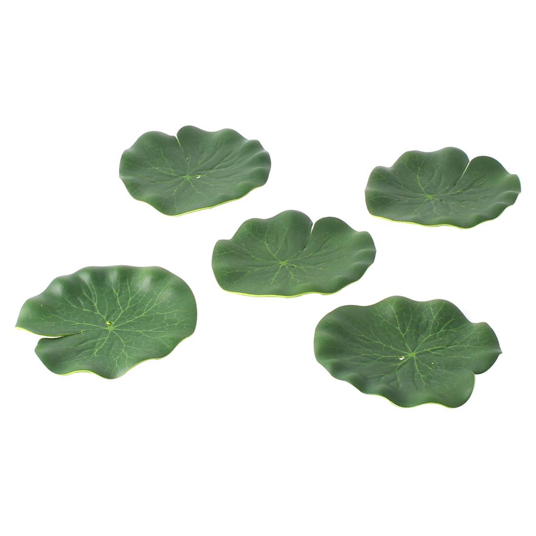 Aquarium Fish Tank Foam Lotus Leaf Water Plant Grass Floating Decoration Green 5Pcs