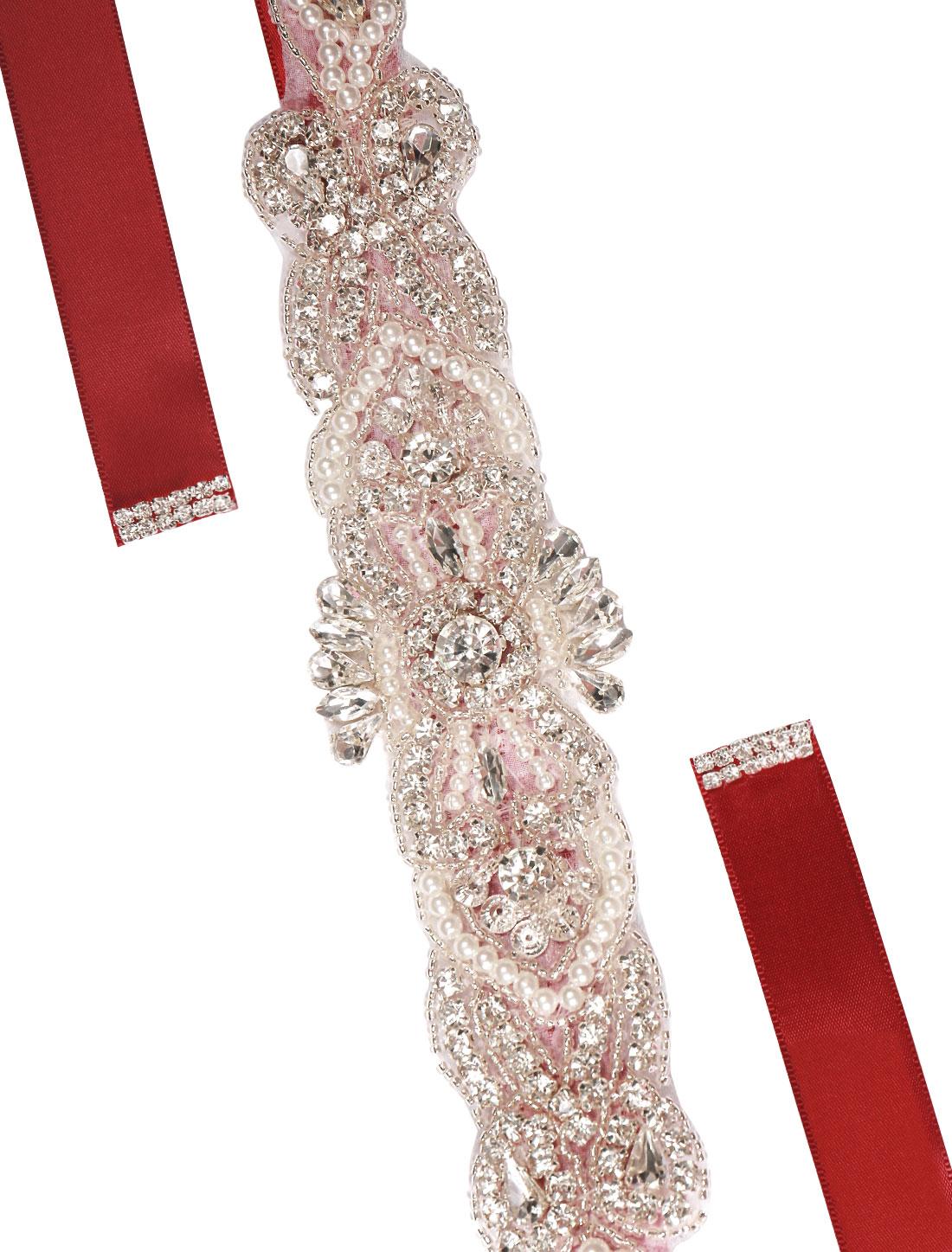 Women Rhinestone Bead Decor Satin Ribbon Wedding Belt Red