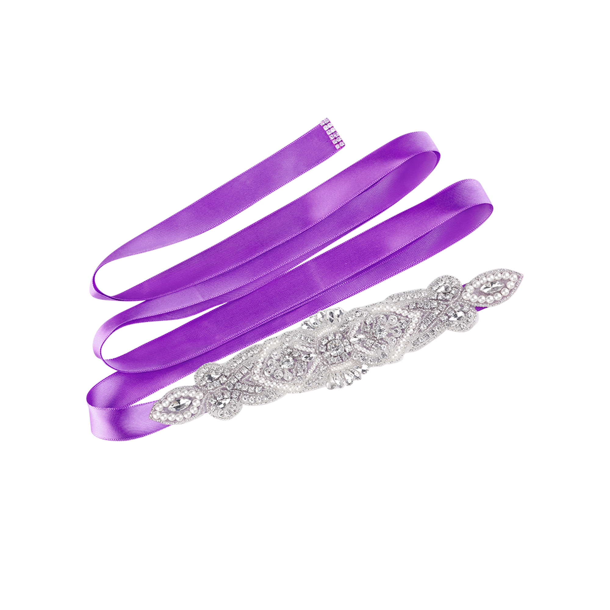 Women Rhinestone Bead Decor Satin Ribbon Wedding Belt Purple