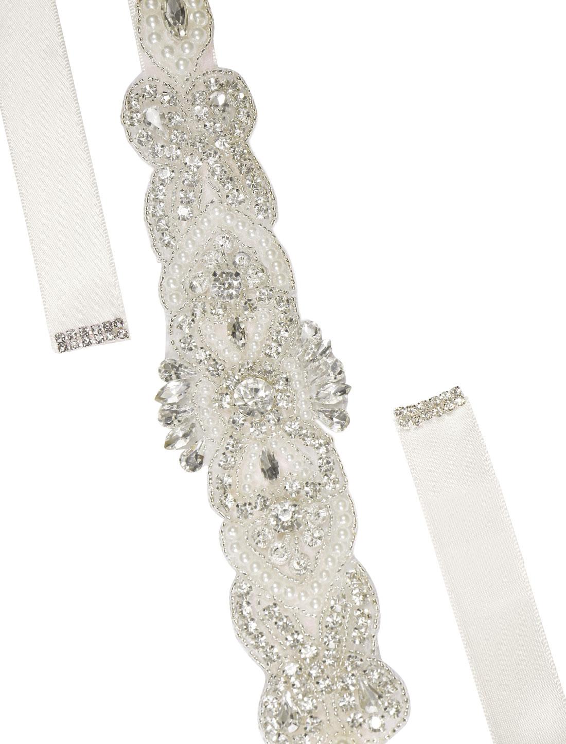 Women Rhinestone Bead Decor Satin Ribbon Wedding Belt Off White