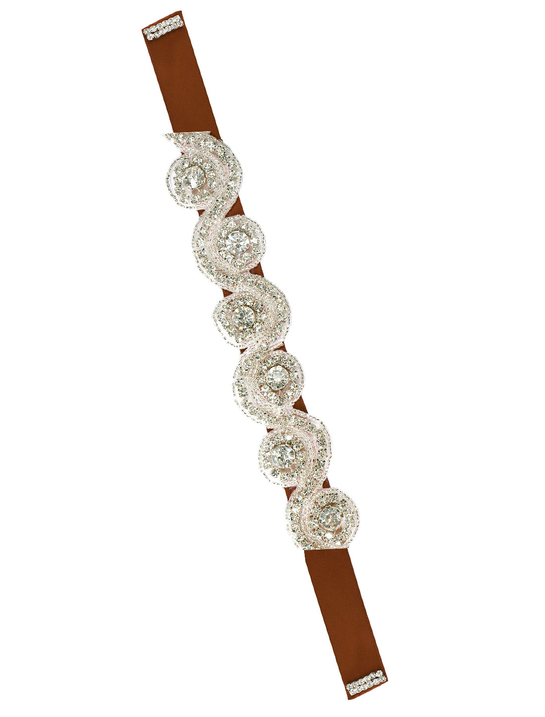 Women Beaded Rhinestone Satin Ribbon Bridal Belt Brown