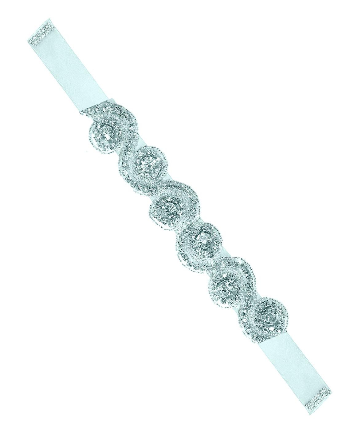 Women Beaded Rhinestone Satin Ribbon Bridal Belt Ivory