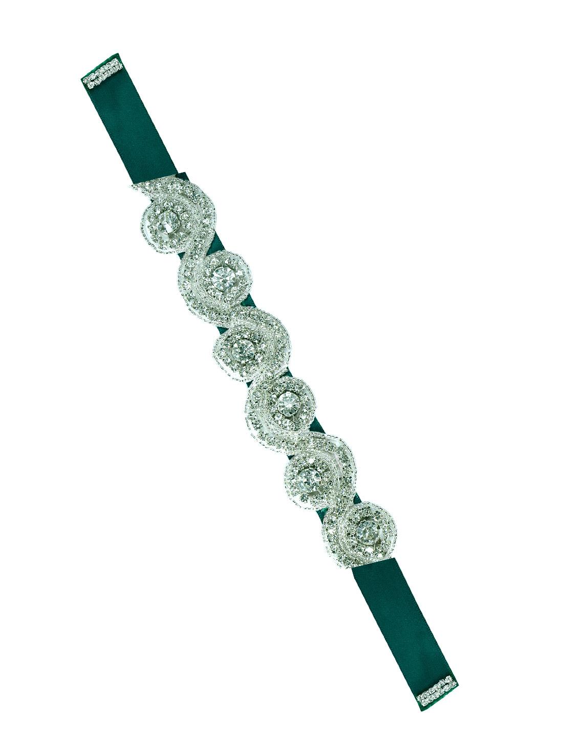 Women Beaded Rhinestone Satin Ribbon Bridal Belt Green