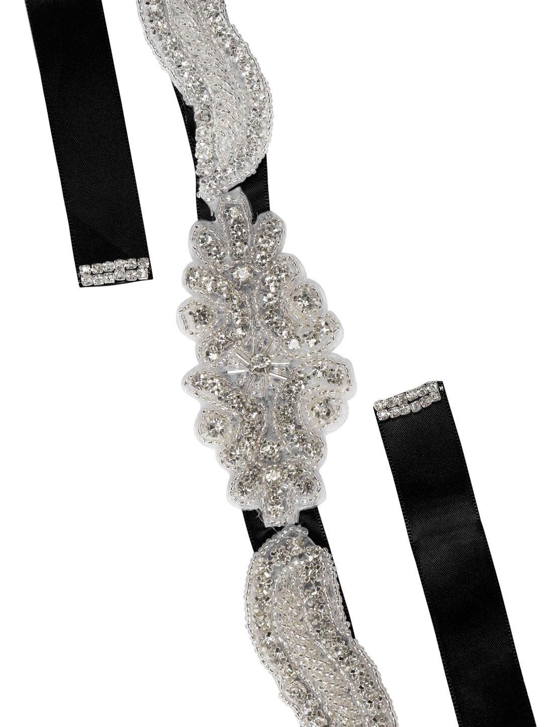Women Rhinestone Bead Decor Self Tie Back Wedding Sash Black