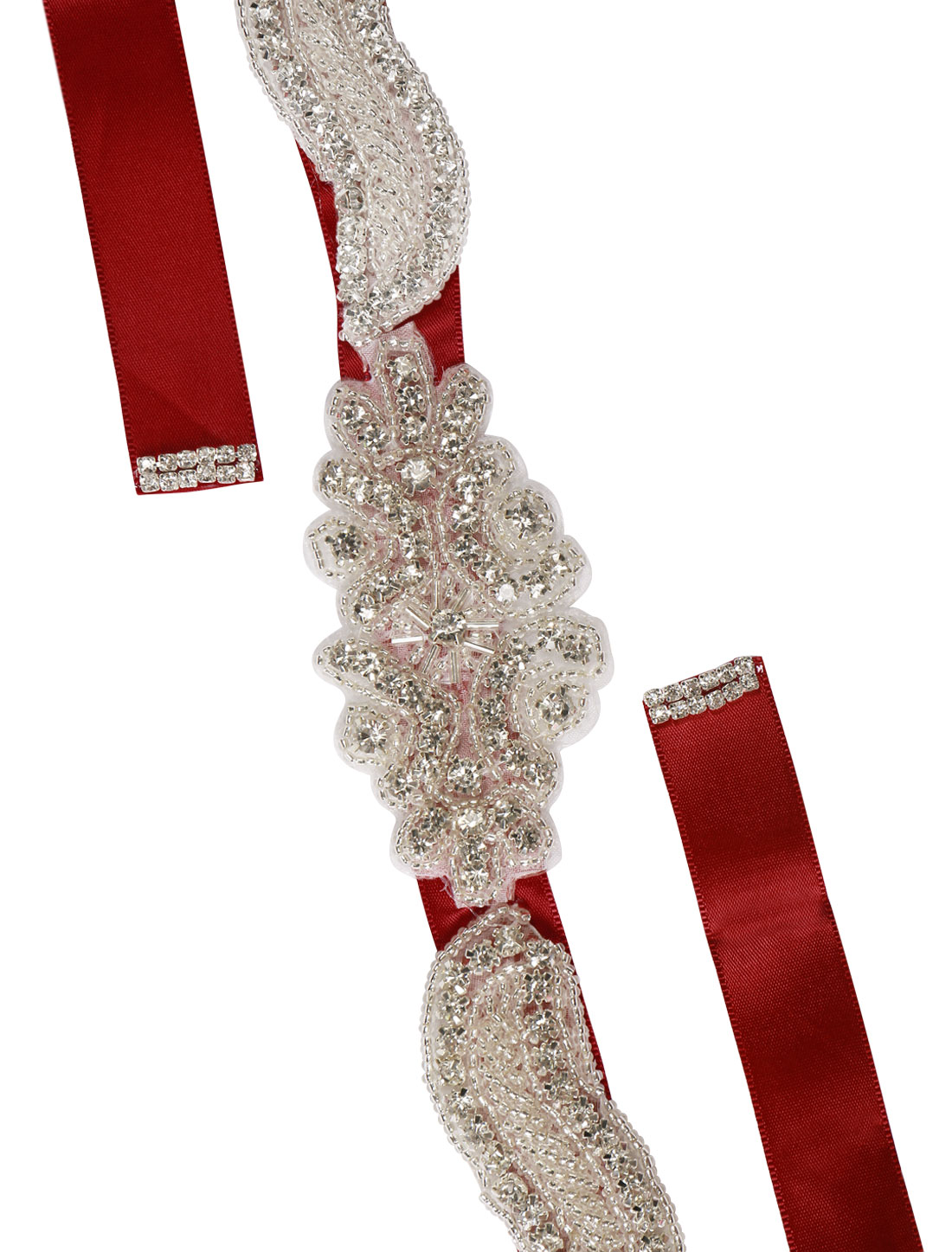 Women Rhinestone Bead Decor Self Tie Back Wedding Sash Red