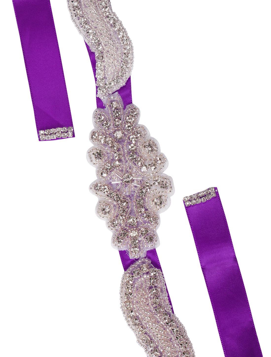 Women Rhinestone Bead Decor Self Tie Back Wedding Sash Purple