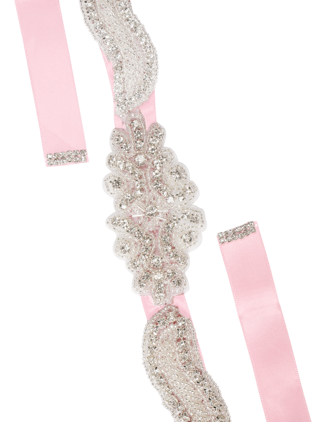 Women Rhinestone Bead Decor Self Tie Back Wedding Sash Pink