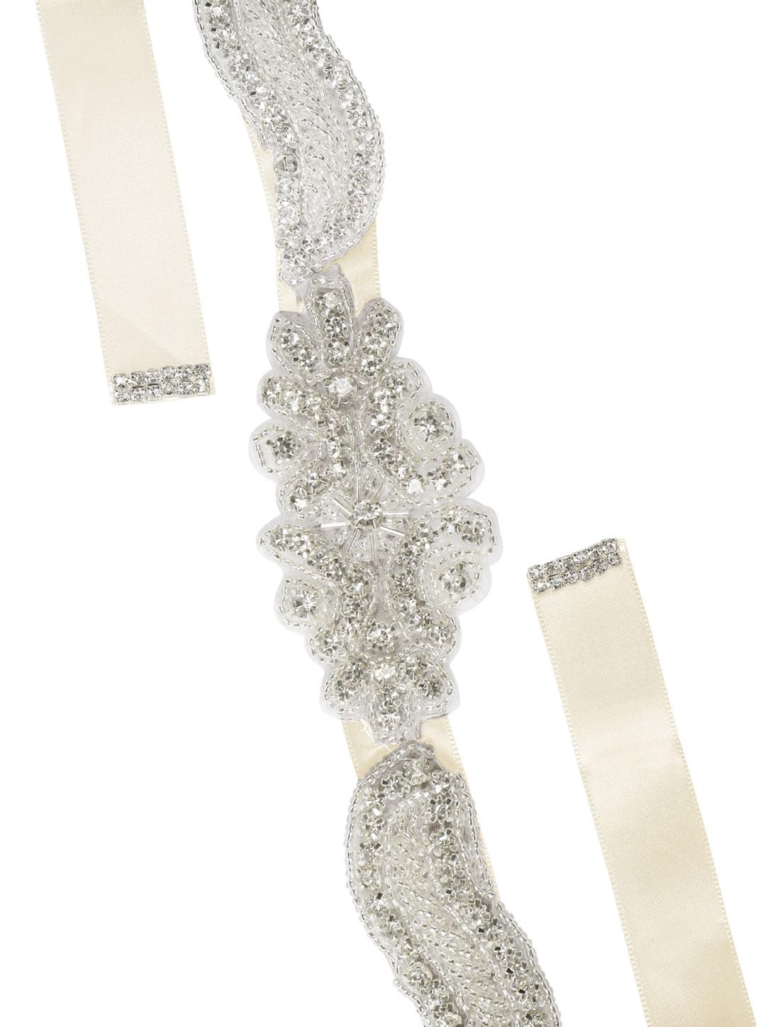 Women Rhinestone Bead Decor Self Tie Back Wedding Sash Beige