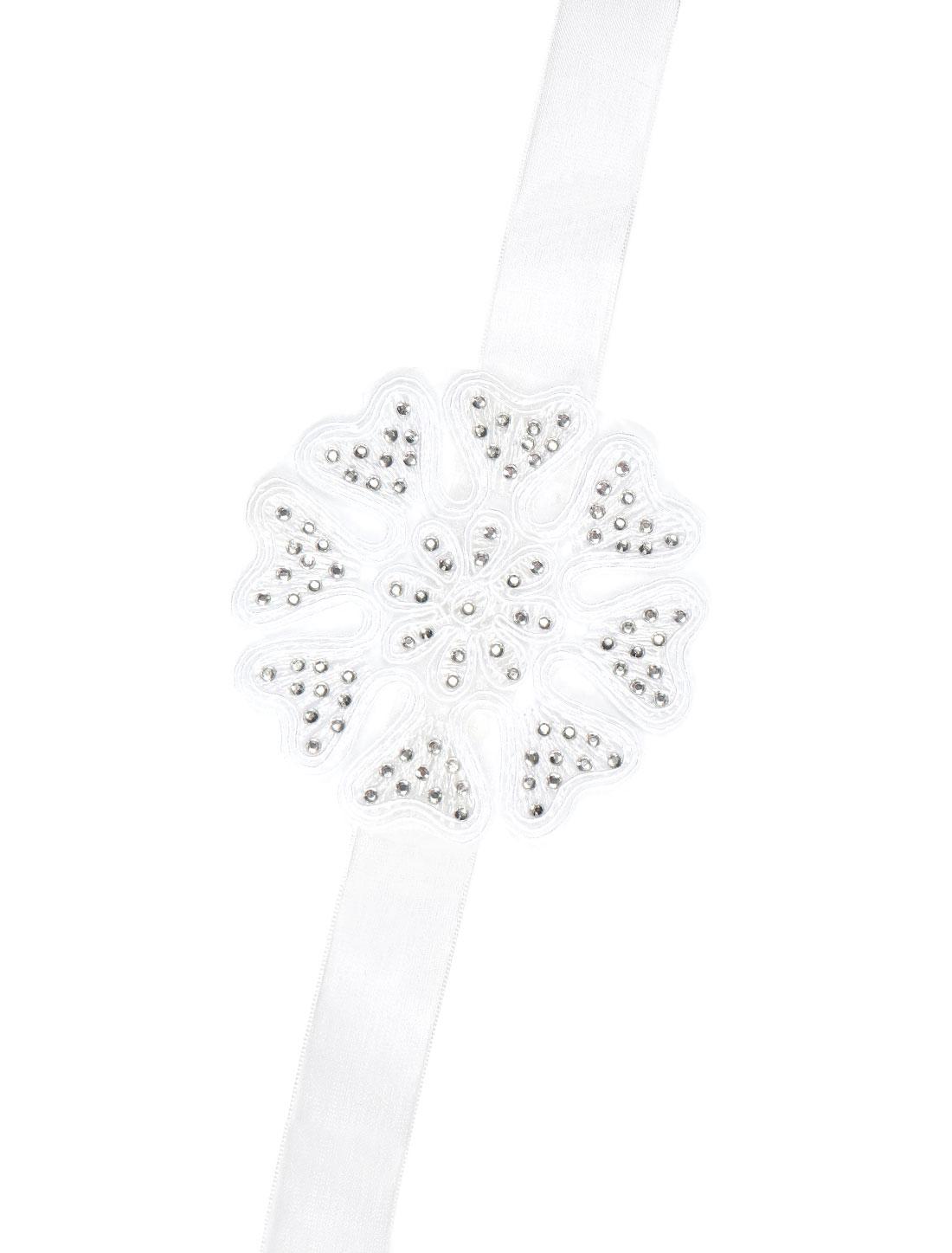 Women Rhinestone Decor Embroidery Satin Ribbon Bridal Bracelet White