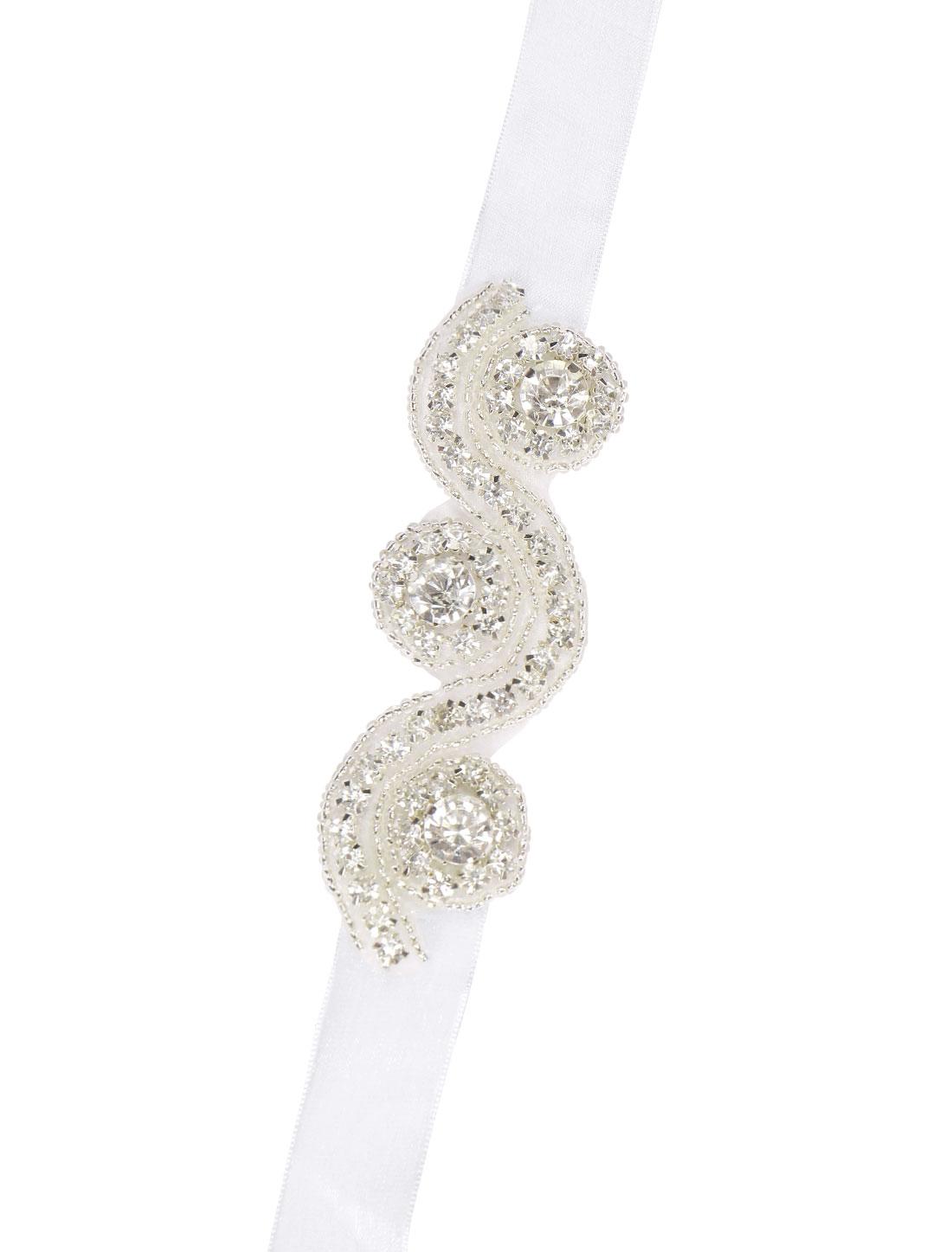 Women Beaded Rhinestone Self Tie Ribbon Bridal Bracelet White