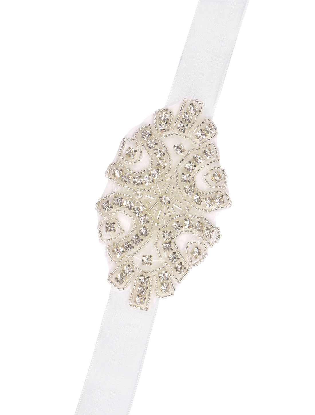 Ladies Beaded Rhinestone Sheer Ribbon Bridal Bracelet White