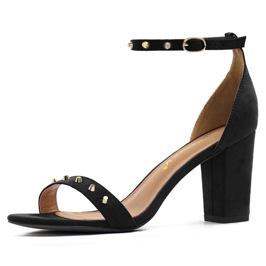 Women Open Toe Studs Embellished Ankle Strap Block Heels Black US 5.5
