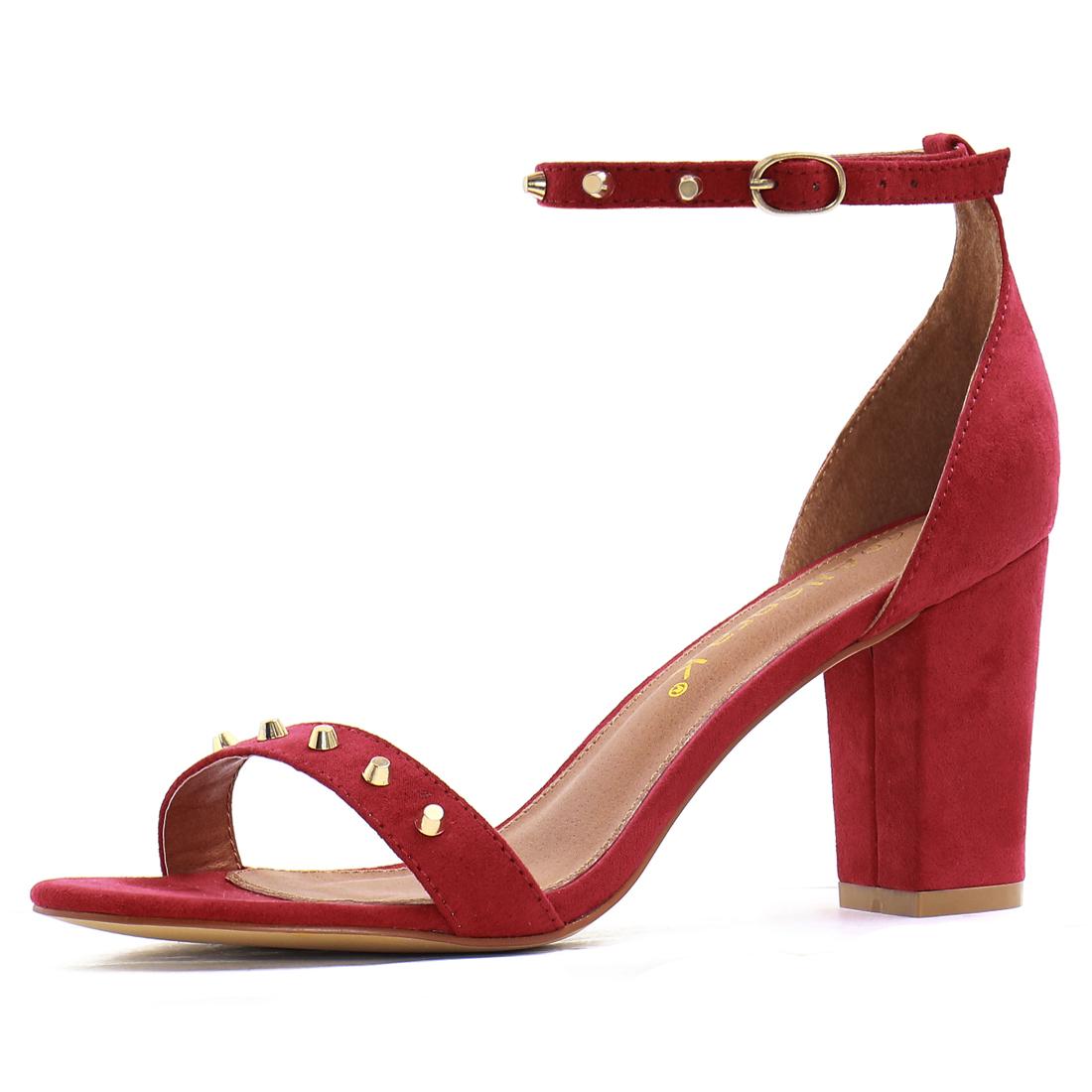 Women Open Toe Studs Embellished Ankle Strap Block Heels Warm Red US 6