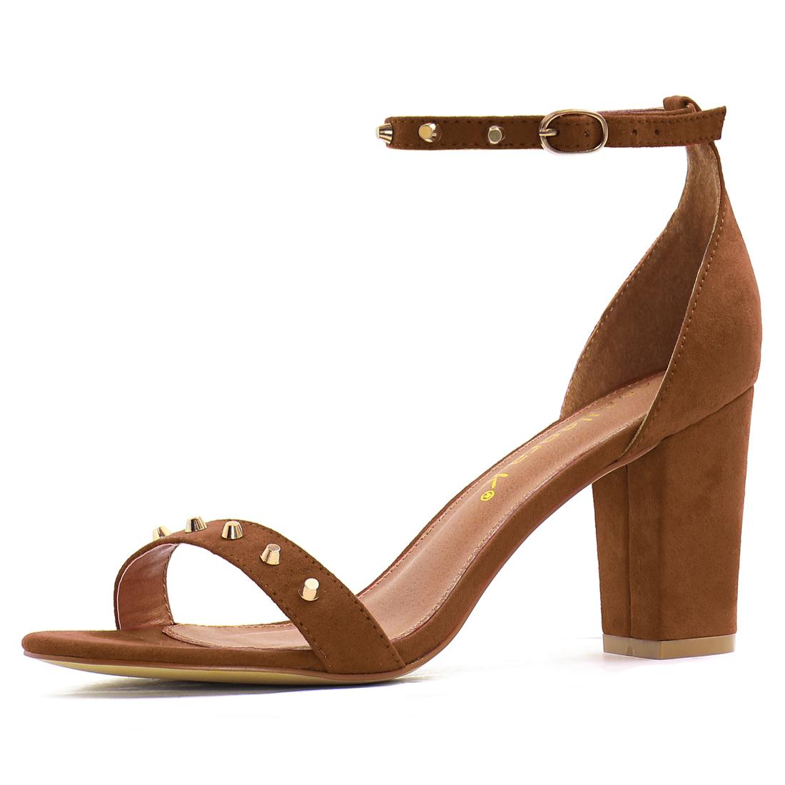 Women Open Toe Studs Embellished Ankle Strap Block Heels Brown US 6