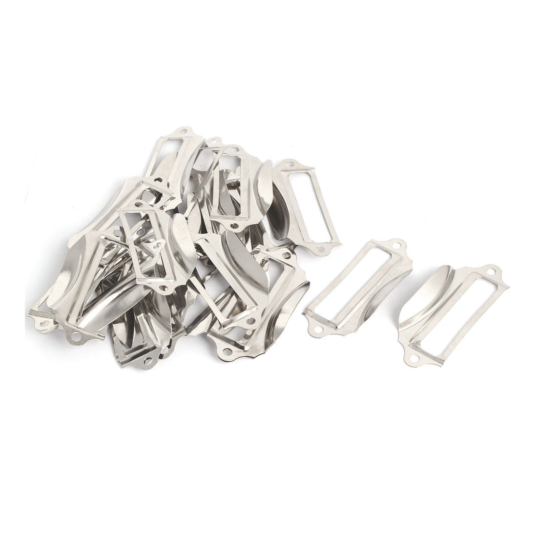 Office Library Iron Tag Frame Label Holder Pull Handle 69mmx28mm Silver Tone 20pcs
