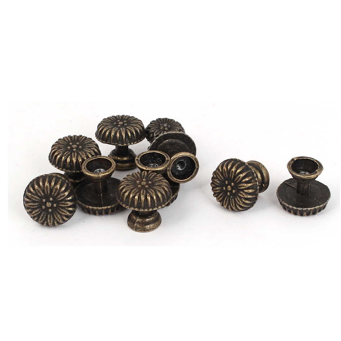 Cupboard Drawer Closet Round Metal Door Pull Handle Knob Grip Bronze Tone 10pcs
