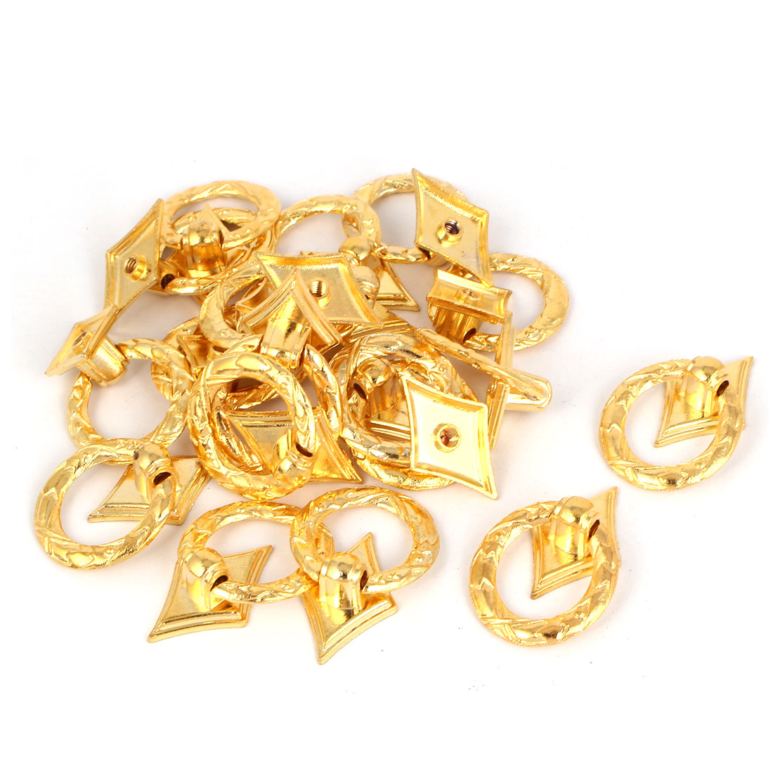 Wooden Box Cabinet Cupboard Drawer Metal Ring Pull Handle Grip Gold Tone 20pcs