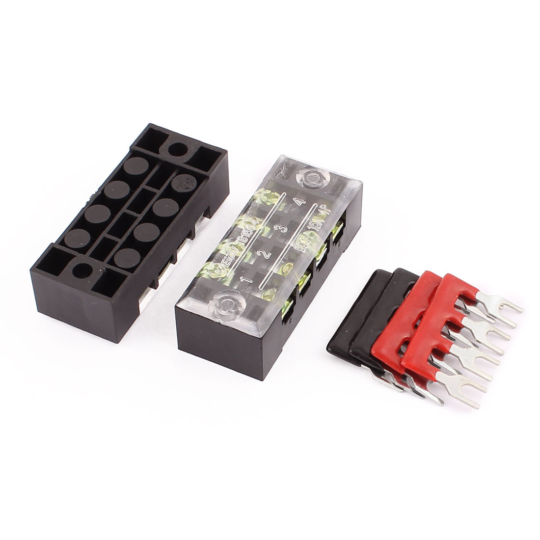 2 Pcs 600V 15A 4P Dual Row Barrier Terminal Block Wire Connector Bar + 4 x Terminal Stripes