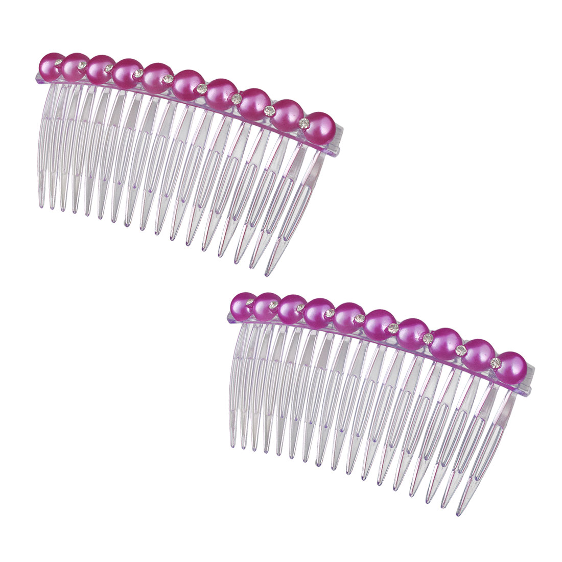 Girl Imitation Pearl Rhinestone Decor 17 Teeth Hair Clip Comb Light Purple 2pcs