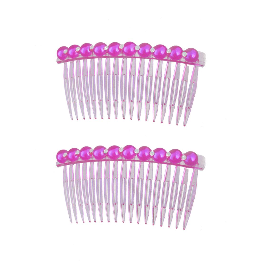 Girl Plastic Imitation Pearl Rhinestone Decor 17 Teeth Hair Clip Comb Fuchsia 2pcs