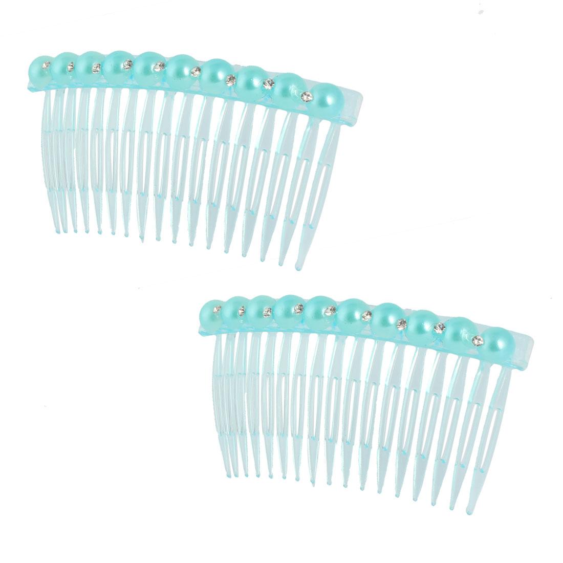 Girl Imitation Pearl Rhinestone Decor 17 Teeth Hair Clip Comb Hairclip Blue 2pcs