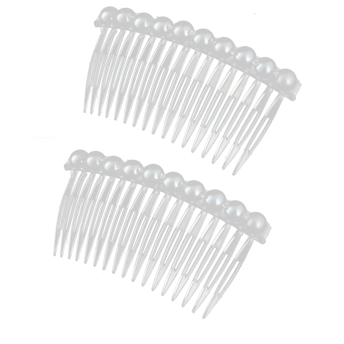 Lady Imitation Pearl Rhinestone Decor 17 Teeth Hair Clip Comb Hairclip White 2pcs