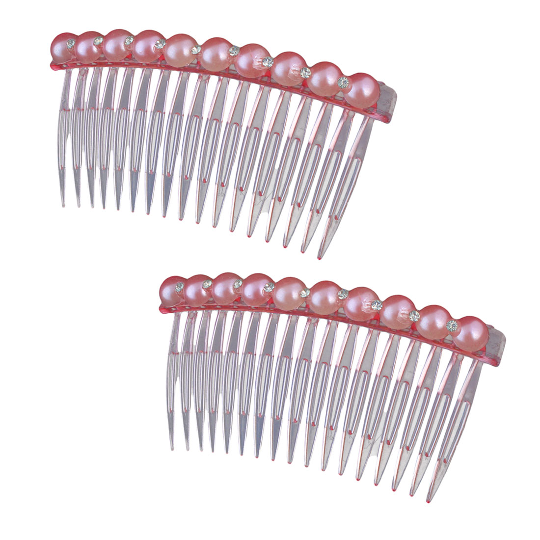 Girl Plastic Imitation Pearl Rhinestone Decor 17 Teeth Hair Clip Comb Pink 2pcs