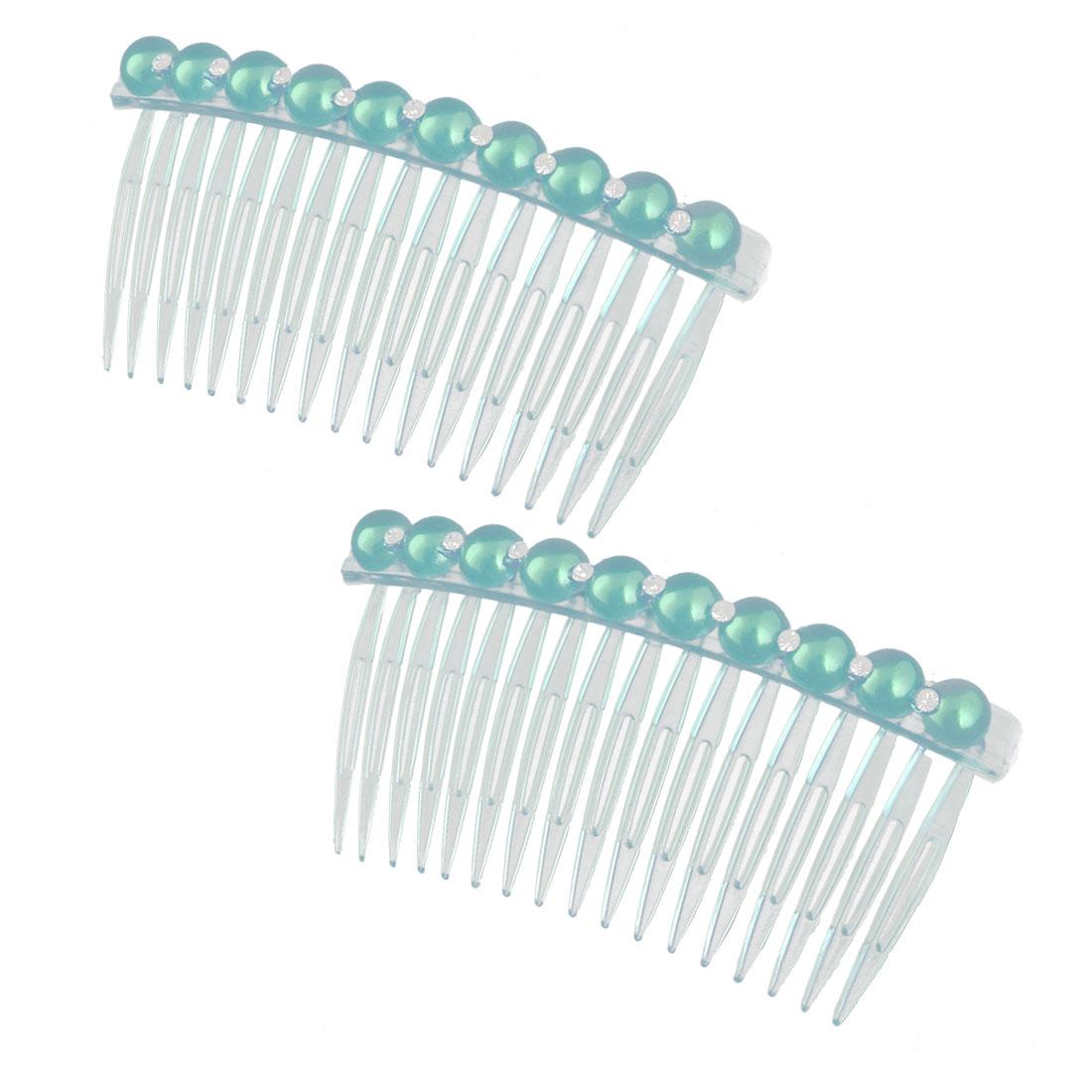Girl Plastic Imitation Pearl Rhinestone Decor 14 Teeth Hair Clip Comb Blue 2pcs