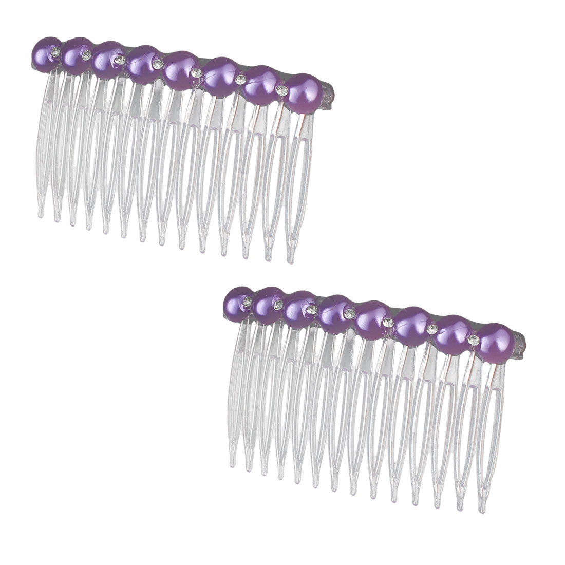 Lady Plastic Imitation Pearl Rhinestone Decor 14 Teeth Hair Clip Comb Purple 2pcs