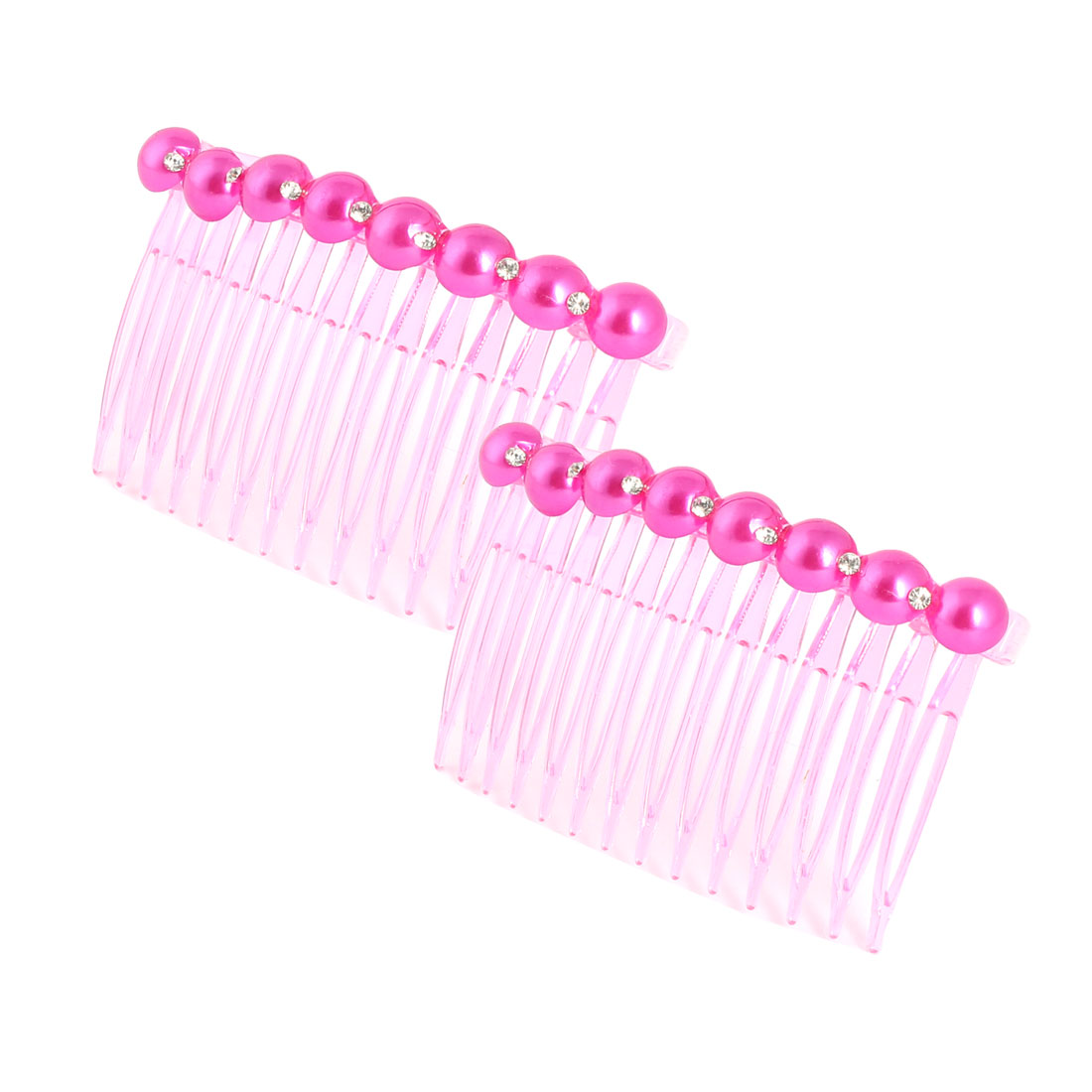 Girl Imitation Pearl Rhinestone Decor 14 Teeth Hair Clip Comb Fuchsia 2pcs