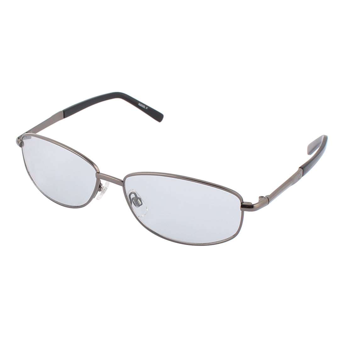 Men Metal Round Full Rim Flame Thin Temple Sun Shield Clear Lens Sunglass Gray