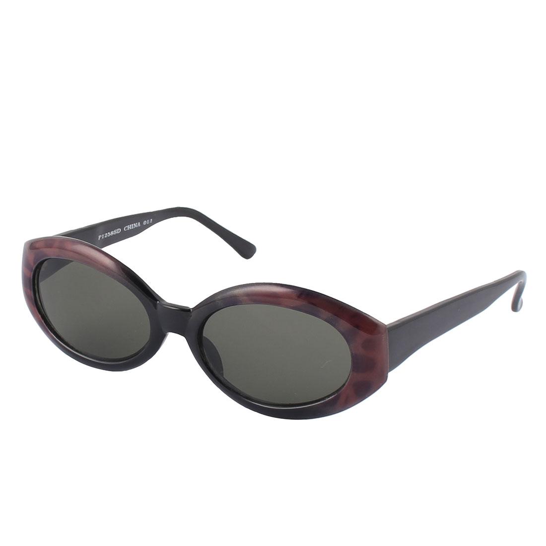 Lady Plastic Round Leopard Pattern Full Rim Flame Sun Shield Lens Sunglasses Black