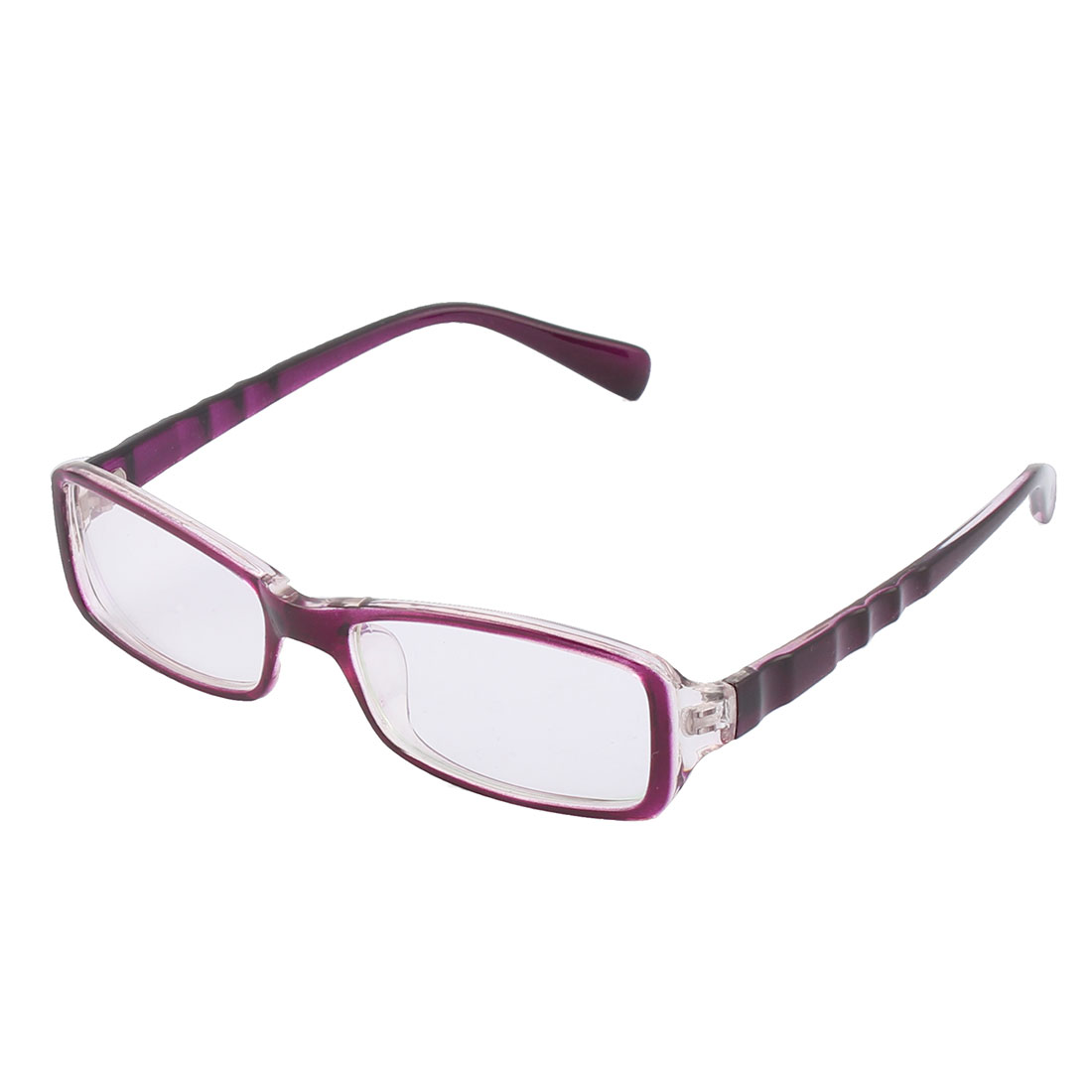Women Plastic Rectangle Full Rim Flame Sun Shield Clear Lens Sunglass Purple