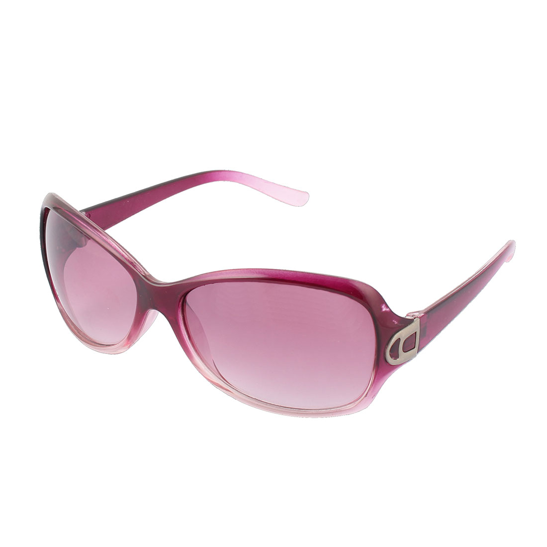 Women Plastic Round Full Flame Rim Sun Shield UV Protection Lens Sunglass Fuchsia