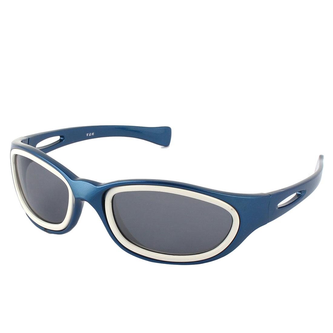 Unisex Plastic Rectangle Full Rim Flame Sun Shield Lens Sports Sunglass Blue