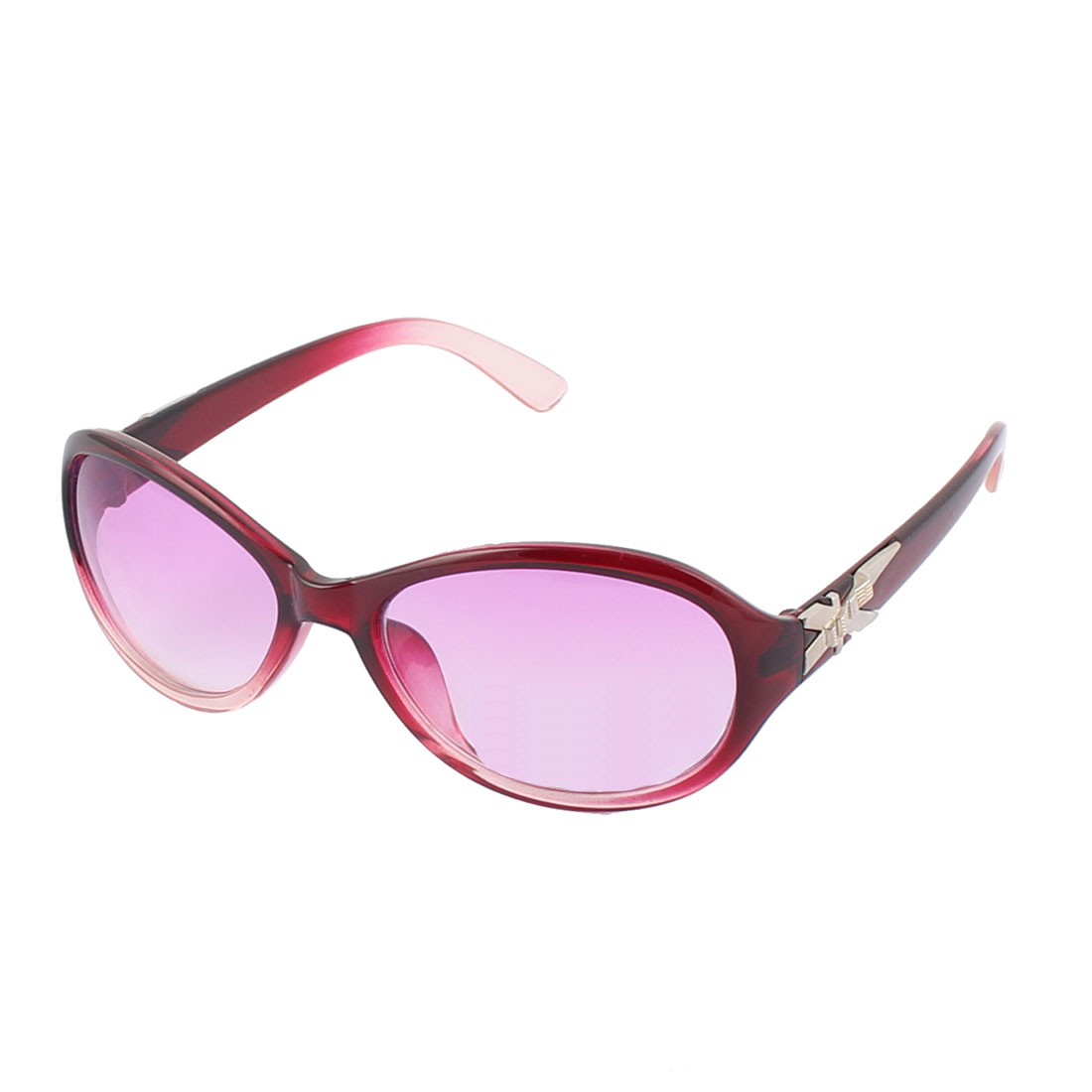 Lady Plastic Round Full Flame UV Protection Lens Sun Shield Sunglass Fuchsia