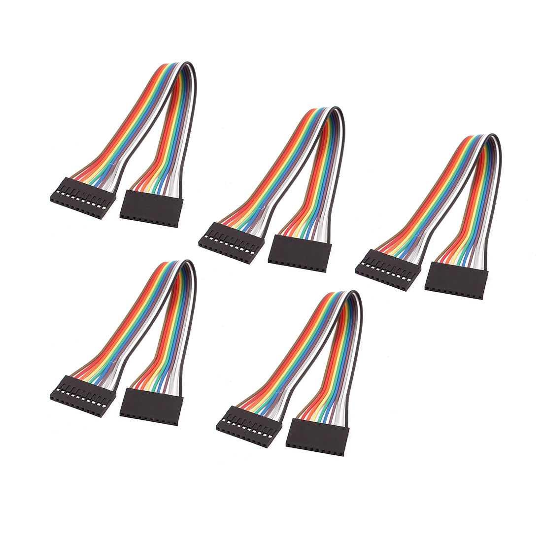 5PCS 2.54mm Pitch 10P Female Breadboard Double Head Jumper Wire Cable 20cm Length