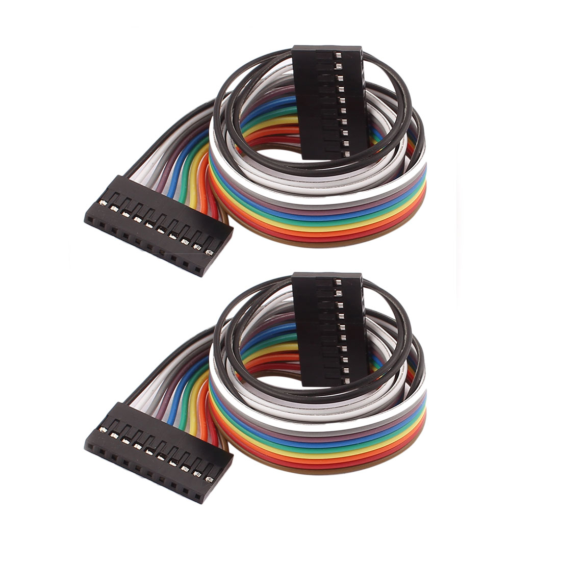 2 Pcs 10P Jumper Wires Female to Female Ribbon Cables Pi Pic Breadboard 40cm Long