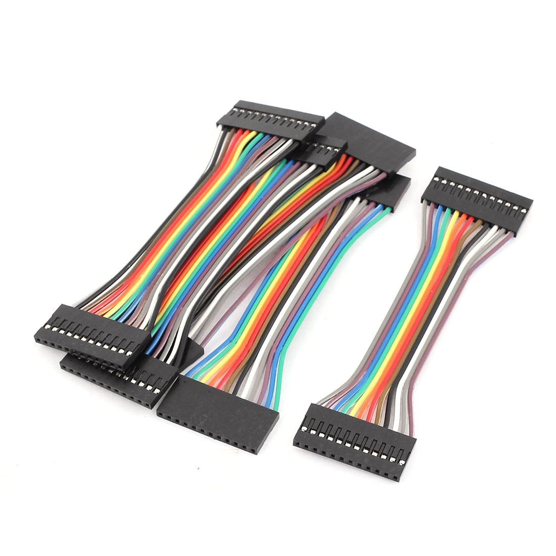 5 Pcs 2.54mm Pitch 12P Female Breadboard Double Head Jumper Wire Cable 10cm Length