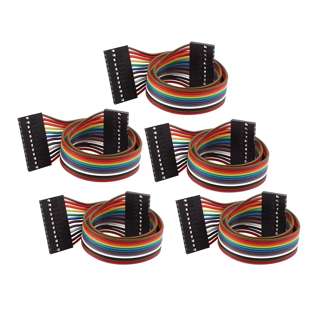 5 Pcs 2.54mm Pitch 12P Female Breadboard Double Head Jumper Wire Cable 30cm Length