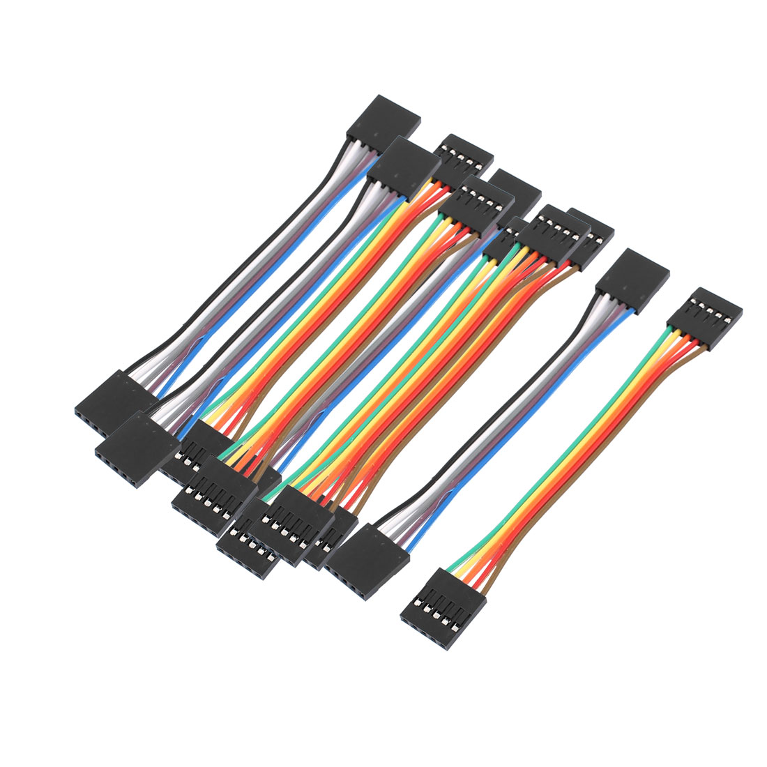 10PCS 2.54mm Pitch 5P Female Breadboard Double Head Jumper Wire Cable 10cm Long