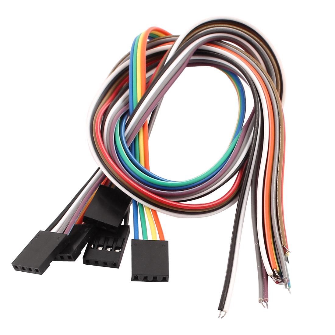 5 Pcs Female 4P Jumper Wires Ribbon Cables Pi Pic Breadboard DIY 40cm Long