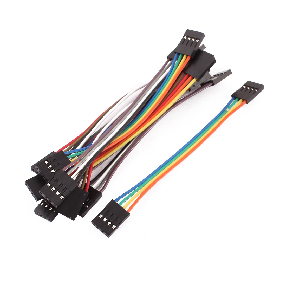 10 Pcs Female to Female 4P Jumper Wire Ribbon Cable Pi Pic Breadboard DIY 10cm Long