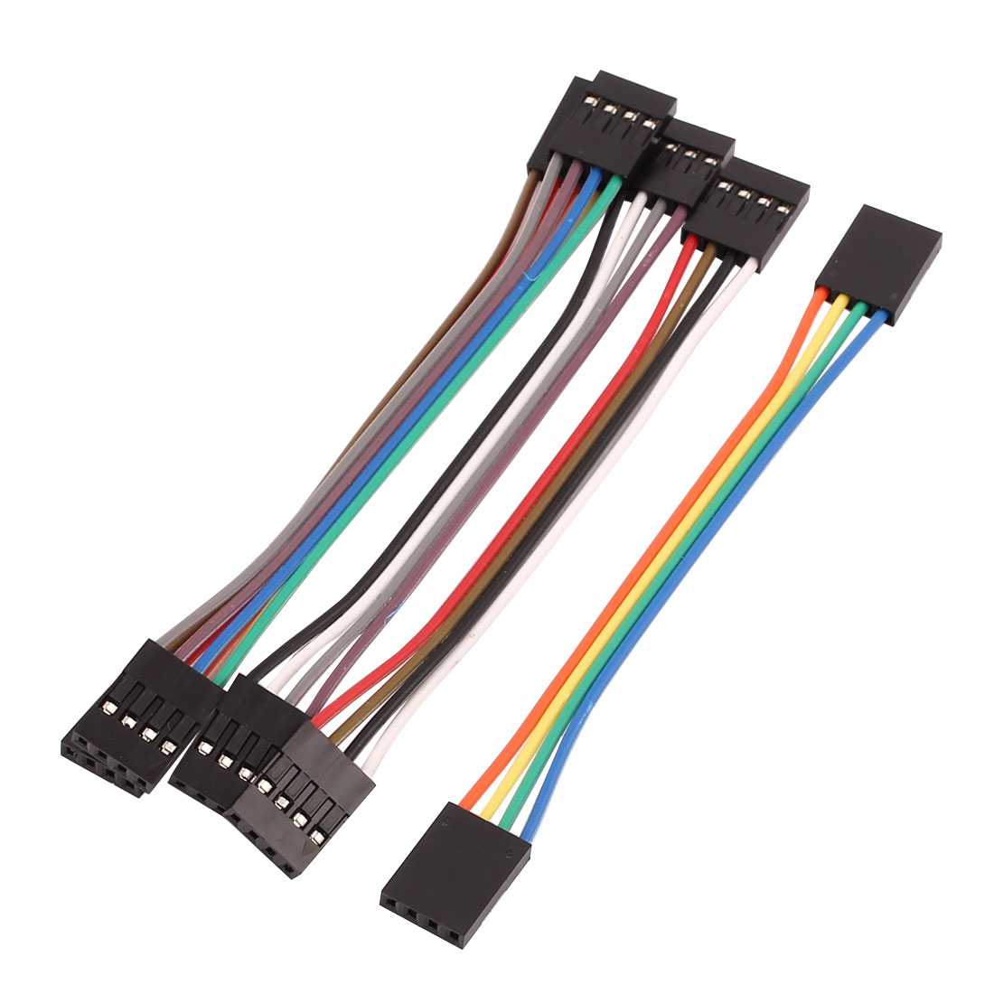 5 Pcs Female to Female 4P Jumper Wire Ribbon Cable Pi Pic Breadboard DIY 10cm Long
