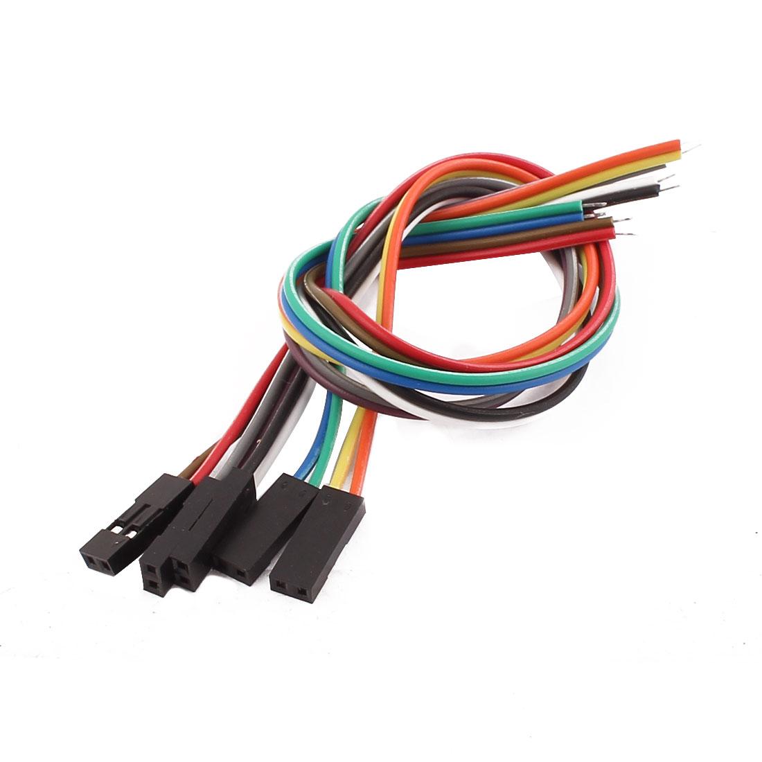 5 Pcs Female 2P Jumper Wires Ribbon Cables Pi Pic Breadboard DIY 20cm Long