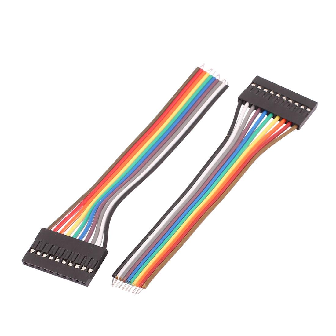 2 Pcs Female 10P Jumper Wires Ribbon Cables Pi Pic Breadboard DIY 10cm Long