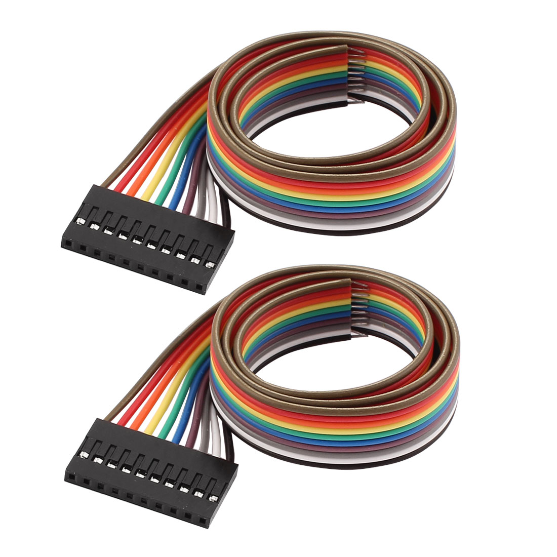 2PCS 2.54mm Pitch 10P Female Breadboard Single Head Jumper Wire Cable 40cm Long