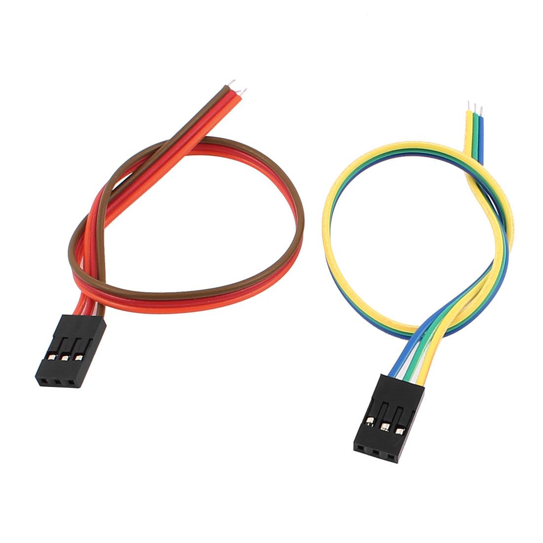2 Pcs Female 3P Jumper Wires Ribbon Cables Pi Pic Breadboard DIY 20cm Long