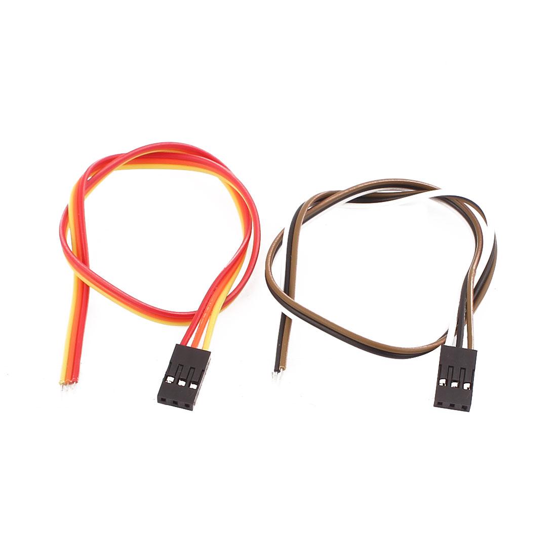 2 Pcs Female 3P Jumper Wires Ribbon Cables Pi Pic Breadboard DIY 30cm Long